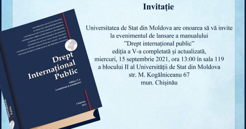 """INVITAȚIE Lansare de carte """"Drept internațional public"""""""