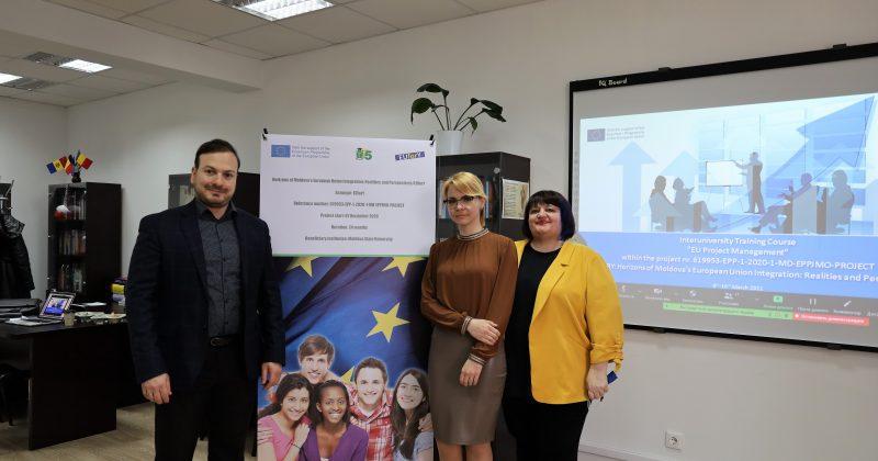 """USM a organizat cursuri de instruire interinstituțională """"Managementul Proiectelor UE"""" la Comrat, Chișinău și Bălți"""